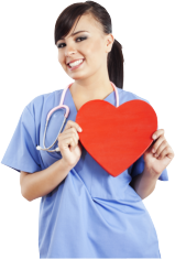 nurse holding a heart shape
